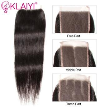 KLAIYI HAIR Malaysian Straight Hair Bundles With Closure 100% Human Hair Extension 3 Bundles With Closure Remy Hair FreeShipping 4