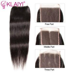 Image 3 - Klaiyi髪マレーシアストレートヘアの束で100% 人毛エクステンション3バンドルと閉鎖remy毛をfreeshipping