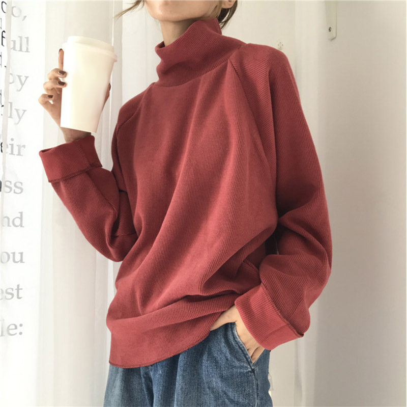Ccibuy11 sweater Turtleneck Knitted Jumpers for Women Sweater Casual Loose Long Batwing Sleeve Crocheted Pullovers Streetwear 20