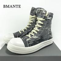 Bmante Men Shoes Canvas Denim Lace Up Trainers Male Sneakers Dark Gothic High Street Men's Sneakers Owen Luxury Genuine Leather