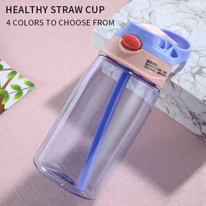 Water-Cup Straws Juice Drinking Silicone Portable Kids Cartoon 480ML with Creative Baby