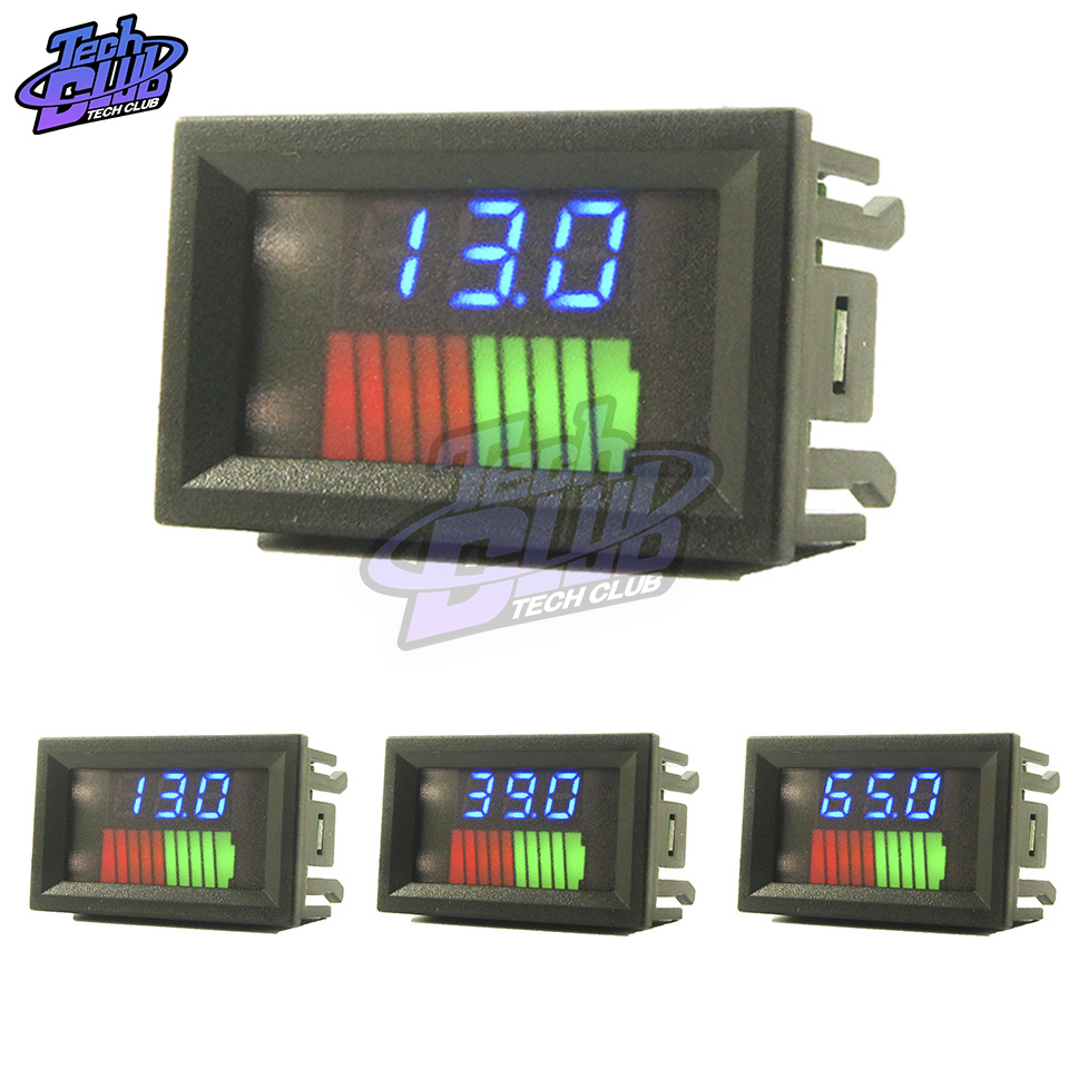 10 Segment Battery Level LED Display Lithium Battery Capacity Meter Charge Indicator Battery Test Red Green Blue 12/36/60/24/48V