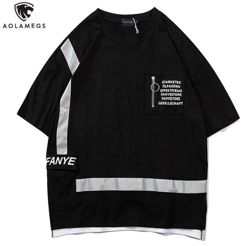 Aolamegs T Shirt Men Reflective Stripe Zipper Letter Print Tee Shirt Cozy Casual T Shirt Harajuku High Street Hipster Streetwear
