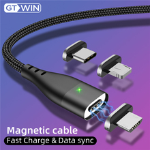 GTWIN 3A Magnetic Cable For iPhone 11 Pro XS Max X 7 Micro usb Type C Fast Charging Charger for Samsung S10 S9 USB-C Data Cable hdsail led light cable fast charging micro usb type c cable led wire cord type c charger for iphone 7 8 xs max samsung s10 s9 s8