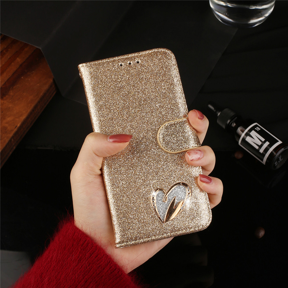 Love Case For <font><b>Samsug</b></font> Galaxy A7 A6 A8 J6 Plus 2018 J3 J5 <font><b>J7</b></font> A3 A5 <font><b>2017</b></font> A50 A30S A51 A71 A70 A40 Glitter Bling Leather Flip Case image