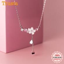 Heart Necklace 925-Sterling-Silver Jewelry Chian Flower Wedding-Party Trustdavis Fine-S925