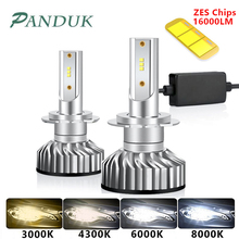 PAUNDUK Mini Canbus H4 H7ไฟหน้ารถLED ZES 4300K 6000K 8000K 16000LM 12V 24V h3 H1 9005 9006 HB4 H11อัตโนมัติหมอกหลอดไฟ