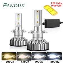 PAUNDUK bombilla de luz antiniebla para coche, minifaro LED Canbus H4 H7 ZES 4300K 6000K 8000K 16000LM 12V 24V H3 H1 9005 9006 HB4 H11