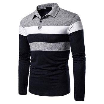 Marque Polos hommes manches longues chemise mode Polo coton chemises Hombre vêtements pour hommes masculino affaires décontracté Patchwork MOOWNUC