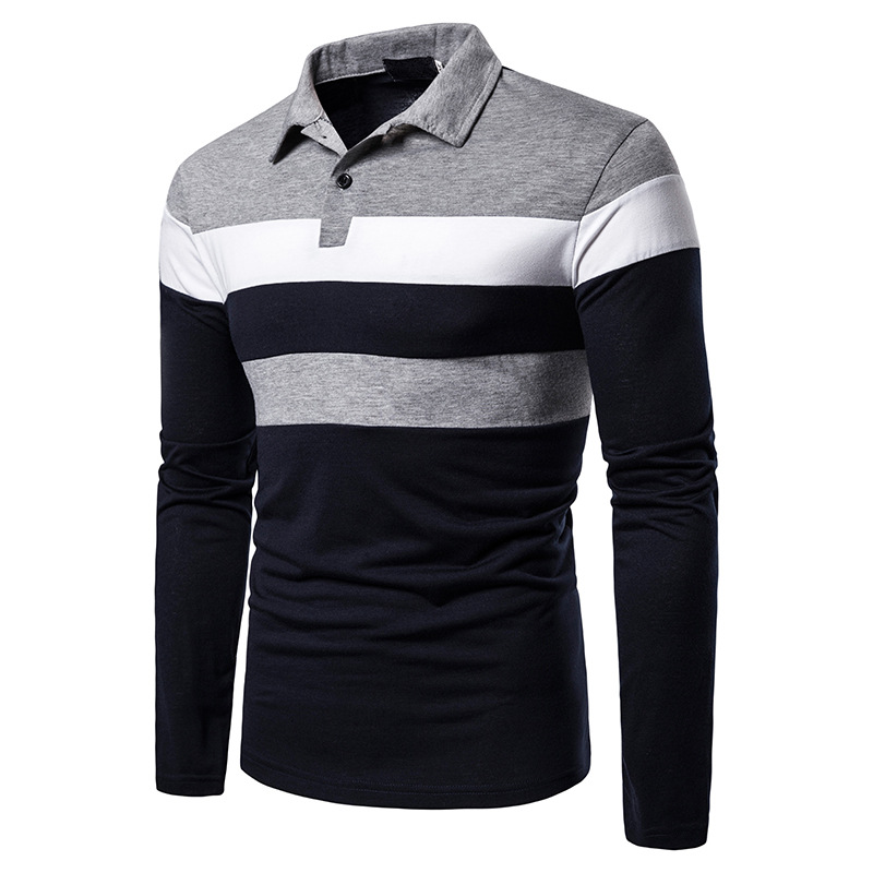 Brand   Polos   Mens Long sleeves Shirt Fashion   Polo   Cotton Shirts Hombre Men's Clothing masculino Business Casual Patchwork MOOWNUC