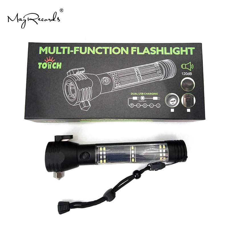 10 In 1 Dropshipping Solar Power Multi Function Flashlight Defense Glass Breaker Alarm Outdoor Emergency Torch Flashlight