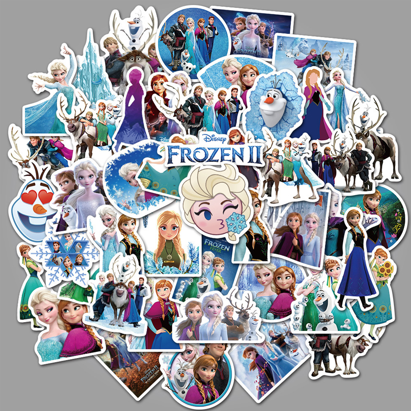 NEW Disney Frozen 2 Princess 50 Pcs Anna Elsa Graffiti Sticker For Car Luggage Suitcase Decor Toys For Children Computer
