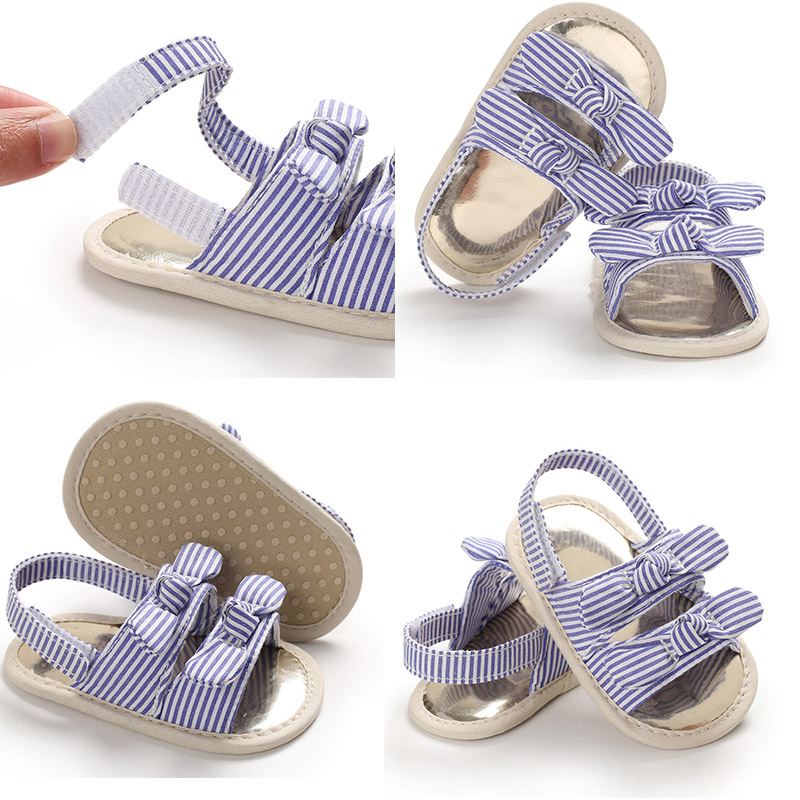 Baby Girl Sandals Cotton Fabric Sandals Toddler Soft Sole Breathable Girl Sandals Two Bowknot Non-slip Toddler Sandals Girl