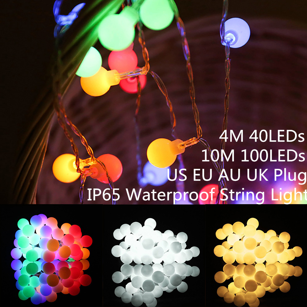 US/AU/EU/UK Plug LED Globe Ball String Light 3xAA Batteries LED String Lights For Valentine's Day&Wedding Party Home Decor D35