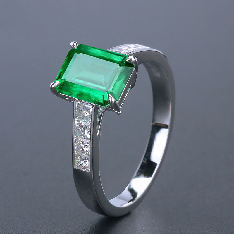 Classical Green Emerald Ring For Women Gemstone Adjustable S925 Sterling Silver Jewelry Ring Wedding Party Zircon Rings With Box