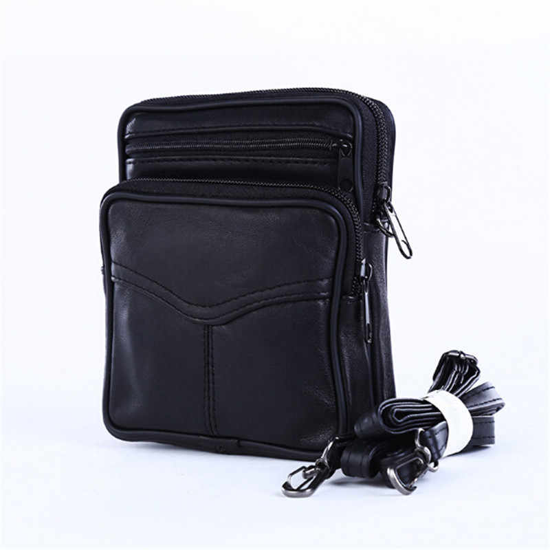Mode Draagbare Mannen Business Europese Stijl Crossbody Schoudertassen Zwart Lederen Mini Crossbody Tas Voor Mannen
