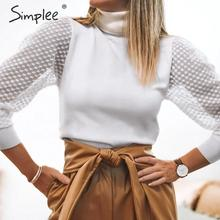 Simplee Elegant lace sleeve patchwork women blouse Turtleneck autumn winter female knitted tops Streetwear ladies blouses shirts