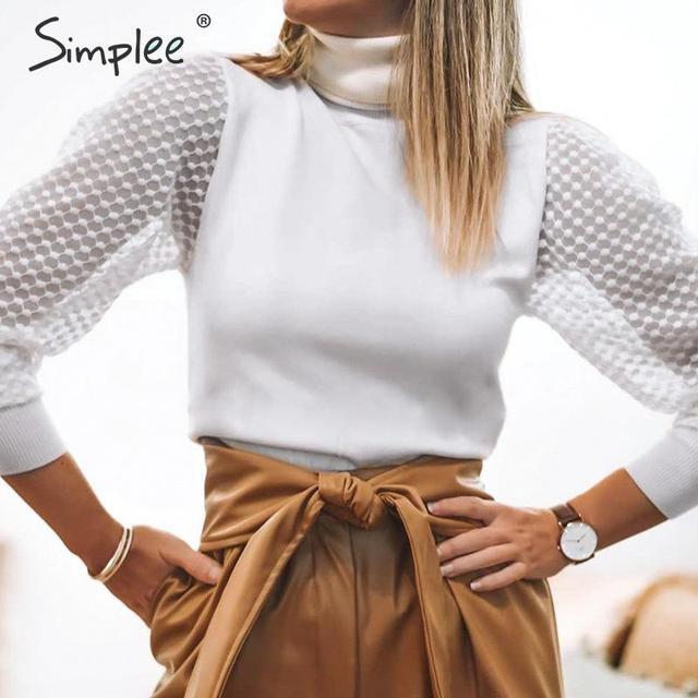 Simplee Elegante Kant Mouw Patchwork Vrouwen Blouse Coltrui Herfst Winter Vrouwelijke Gebreide Tops Streetwear Dames Blouses Shirts