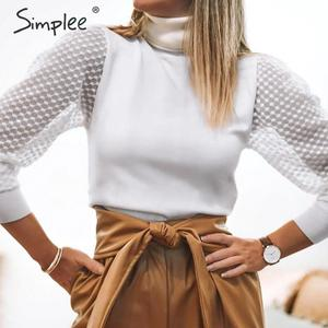 Image 1 - Simplee élégant dentelle manches patchwork femmes blouse col roulé automne hiver femme tricoté hauts Streetwear dames blouses chemises
