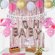 OH BABY Baby Shower Decorations for Girl Party Kit Its A Banner/Balloons Rose Gold Backdrop Pink Elephant Balloon