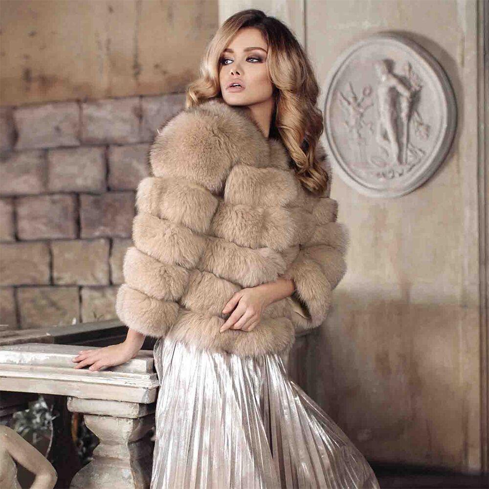 CNEGOVIK manteau de fourrure de renard court fourrure de renard bleu Imitation de sable veste de fourrure réelle longueur 50cm