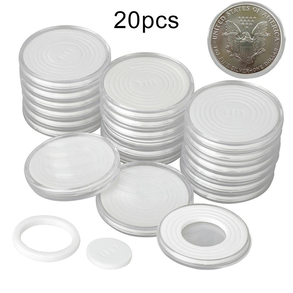 20Pcs 46mm Plastic Clear Round Coin Holder Capsule Protector Box For Coin Collection Case Storage Box