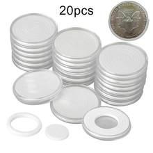 Cápsula protetora de moedas redonda, caixa de plástico transparente para organizar joias, porta moedas, caixa de armazenamento, 20 peças 46mm