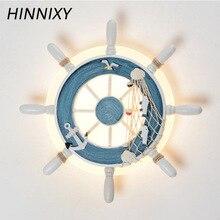 Hinnixy Blue Rudder Shape Night Lights Children Boy Bedroom Ocean Style Decorative Wall Lamp Creative Bedside Lighting Fixtures