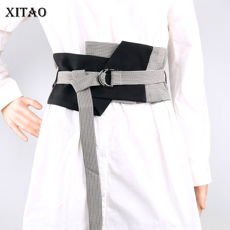 XITAO Striped Irregular Cummerbunds Women Korea Fashion Geometric Pattern 2019 Summer Double Buckle Wild Joker New GCC1183