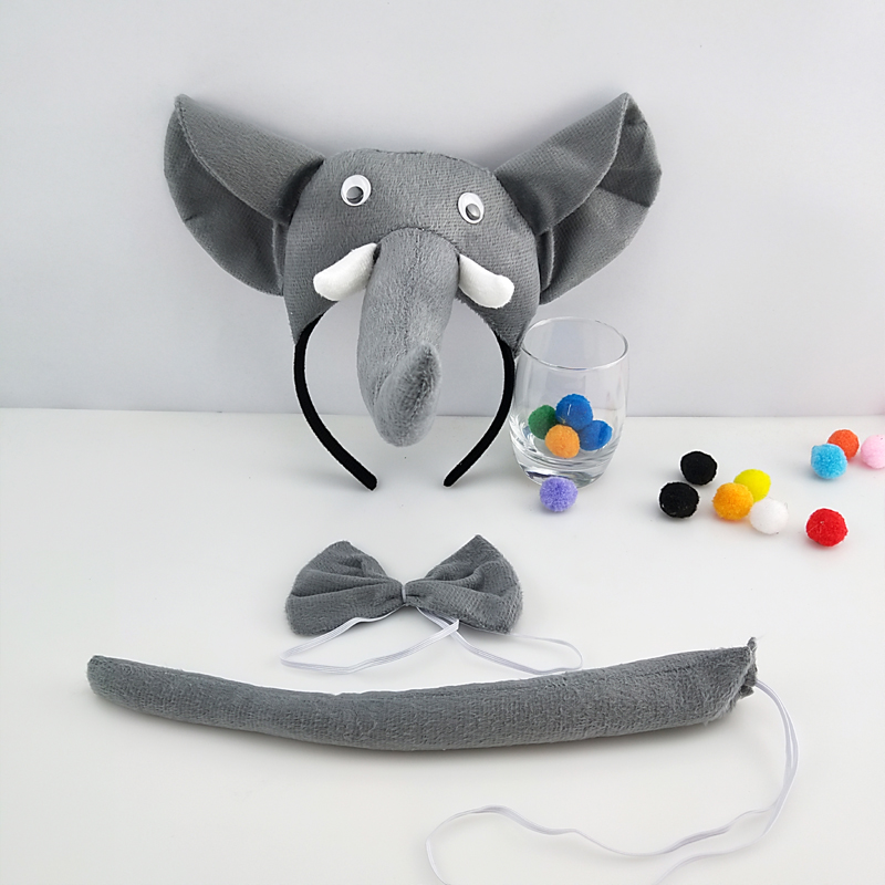 Children Adult Elephant Headband Animal Cosplay Tie Tail Props Party Halloween Costume for Kids Birthday Gift Christmas Carnival