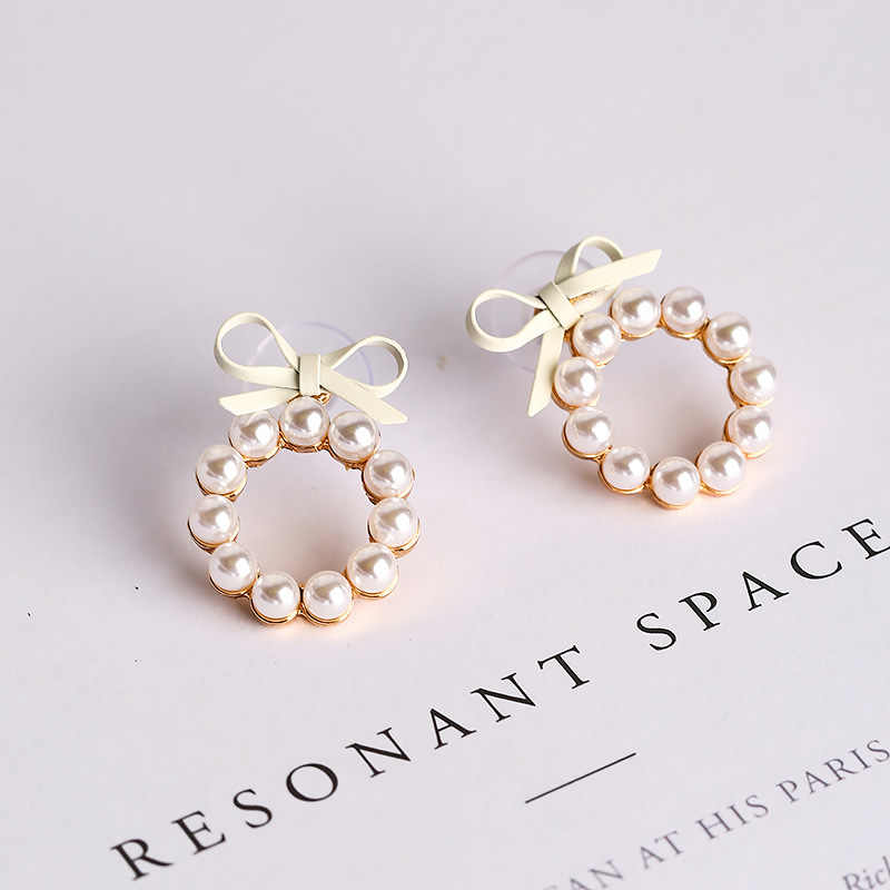 Lovely Cute Bow Pearl Round Circle Piercing Stud Earrings For Women Black Gray Beige Pink Color Brincos Party Fashion Jewelry