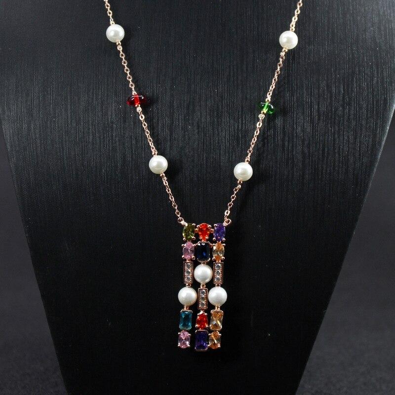 Bijoux en cuivre pour femmes collier Rectangle couleur pierre mode gemme zircon long chandail chaîne pendentif marque de luxe bijoux