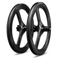 16inch 349 23mm Carbon tri spoke wheelset Clincher for kid balance bicycle folding bike UD/3K/12K/18K Matte/Glossy