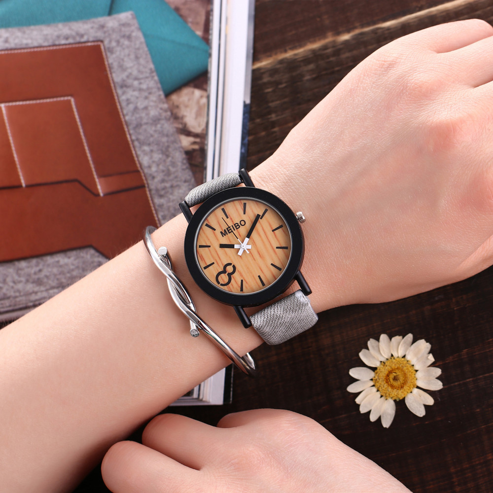 Watch Modeling Environmental-Watch Quartz Women Reloj Mujer Wooden Color Casual
