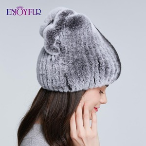 Image 3 - ENJOYFUR Real Rexกระต่ายหมวกขนสัตว์ฤดูหนาวสำหรับผู้หญิงหมวกขนสัตว์ธรรมชาติแฟชั่นโบว์โบว์หญิงอบอุ่นหมวก
