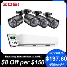 ZOSI 4 ช่องHD 5MP 4 In 1 AHD CVBS CVI TVIกล้องรักษาความปลอดภัยNightvisionการตรวจจับกล้องวิดีโอระบบกล้องวงจรปิดCCTV Bullet Camera DVR Kit