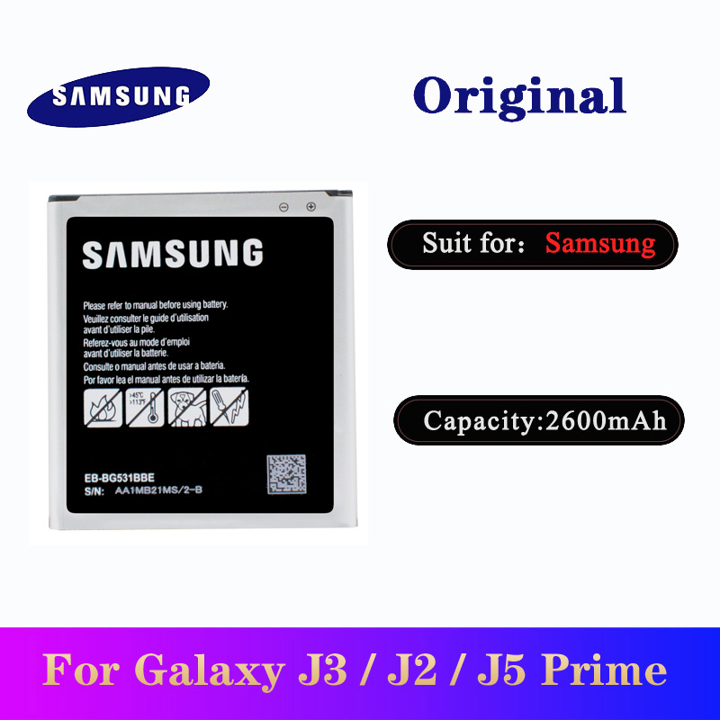 Original Battery EB-BG531BBE For <font><b>Samsung</b></font> Galaxy <font><b>J5</b></font> 2015 Grand J2 prime J3 2016 Prime G532F G530 G531H/DS <font><b>Bateria</b></font> AKKU 2600mAh image