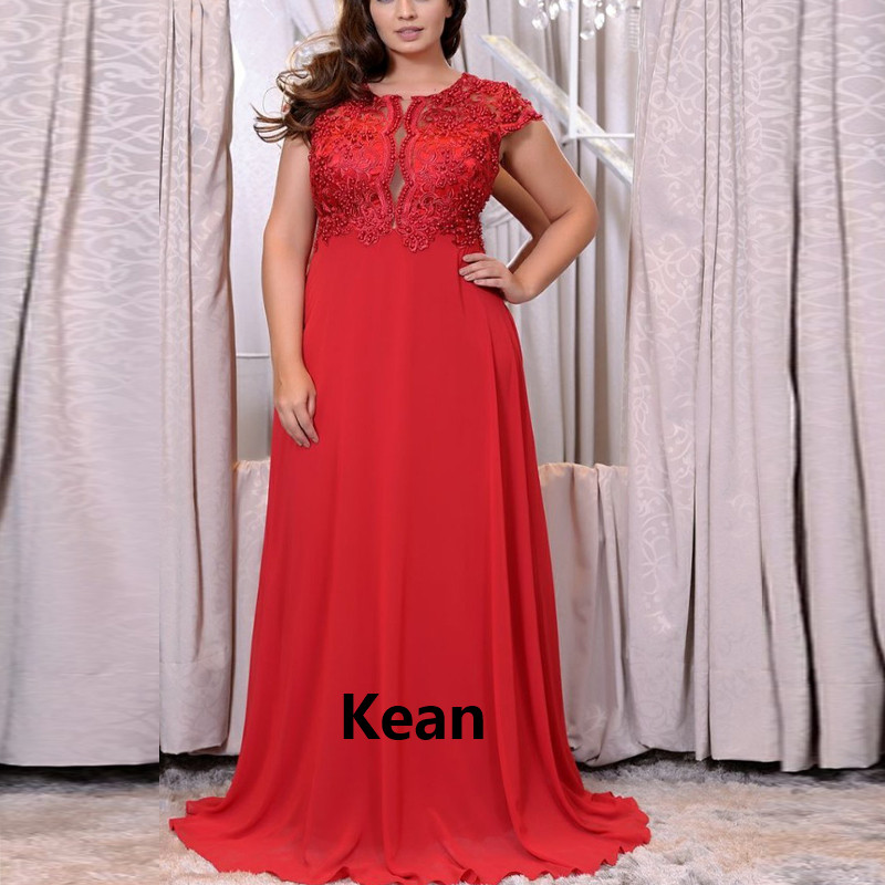 Plus Size Evening Dress Deep-V Chiffon Applique Robe Soiree Islamic Dubai Kaftan Saudi Arabic Evening Gown Prom Dress