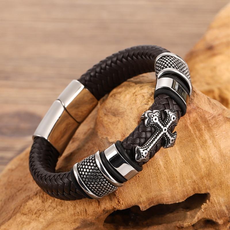 Bracelets croisés en acier inoxydable pour hommes, Bracelet Chakra en cuir noir/Brwon tressé multicouche, à la mode, vente en gros 2