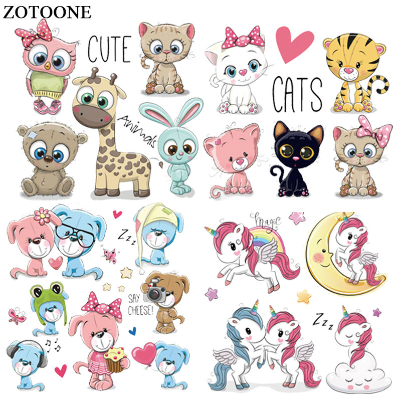 ZOTOONE Big Size Iron on Unicorn Cat Patches Cute Animal Sticker Transfers for Clothing Diy Heat Transfer Accessory Appliques G