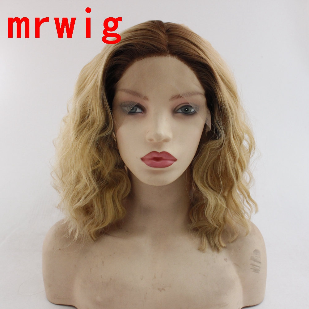 MRWIG brown roots ombre blonde 27# mixed 613# hair color synthetic heat resistant fiber