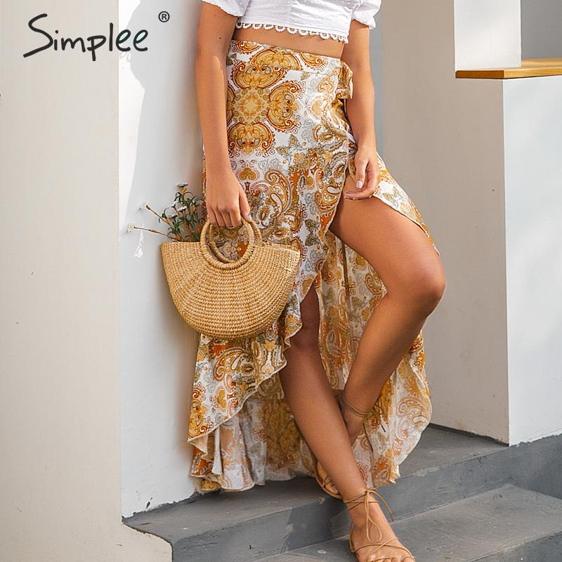 Simplee Bohemian Floral Print Long Skirt Women Ruffled Split Sexy Female Summer Style Skirt High Waist Bow Tie Ladies Skirts