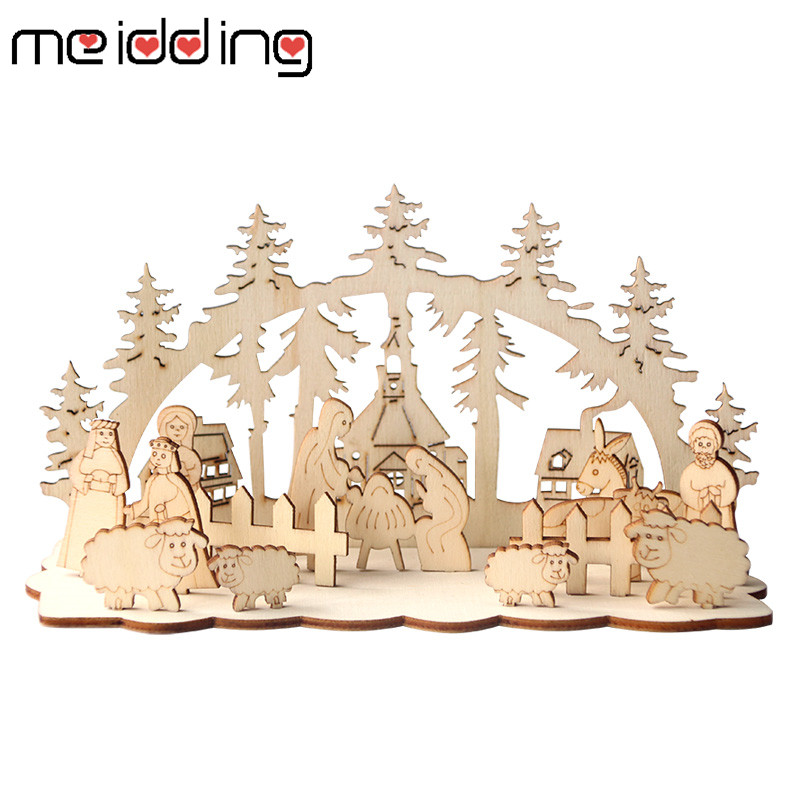 1 Set Christmas Party Wooden Decoration Snowman Church For Christmas Table Decorative 2020 New Year DIY Party Supplies in Party DIY Decorations from Home Garden