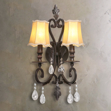 Vintage LED Iron Glass Wall Lamp Indoor Decor Wall Sconce Lamps Aisle Dining Living Room Hotel Bedside Bedroom Wall Light Fxture