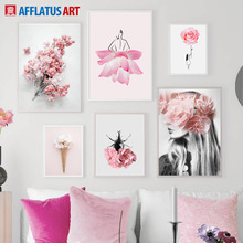 Pink Rose Peony Lotus Flower Beetle Girl Wall Art Canvas Painting Nordic Posters And Prints Pictures For Living Room Decor