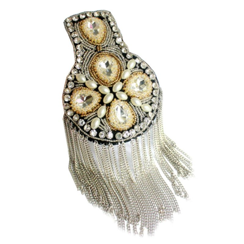 Women Men Shoulder Board Badge Rhinestone Beaded Metal Chain Tassels Epaulettes X4YB