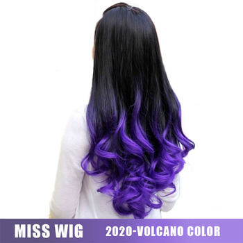 MISS WIG Long Wavy Half Wigs Purple Ombre 6 Color Available Synthetic For Black Women - discount item  48% OFF Synthetic Hair
