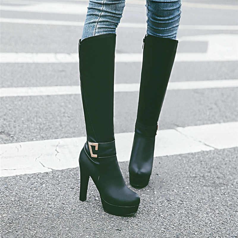Meotina sonbahar diz yüksek çizmeler kadın fermuar platformu kalın topuk uzun çizmeler toka süper yüksek topuk ayakkabı bayan kış büyük boyutu 43