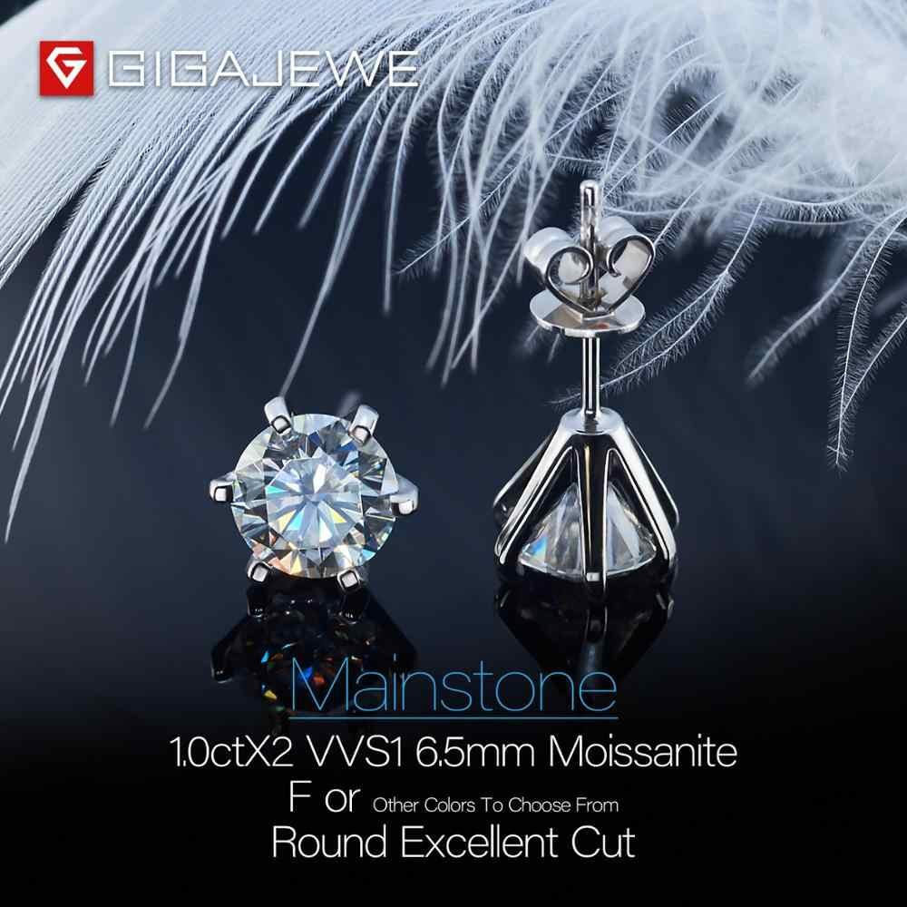 Gigajewe ef VVS1 ラウンドカット合計 2.0ctダイヤモンドテスト合格モアッサナイト 18 18kゴールドメッキ 925 シルバーイヤリングの宝石ガールフレンドギフト