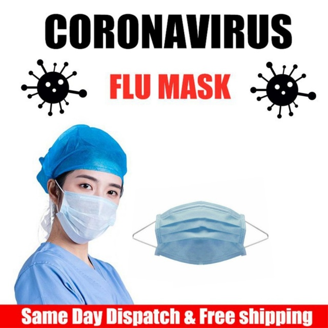 3-Layer mask Anti Dust Flu Virus Breathable Earloop Mouth Face Mask Comfortable Sanitary Mask Blue